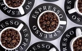 Обои эспрессо, кружки, кофе, зёрна, espresso
