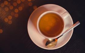 Картинка чай, белое, ложка, чашка, блюдце, боке