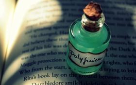 Картинка книга, зелёный, буквы, бутылочка, пробка, напиток