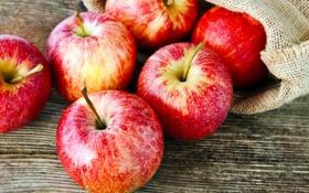 Обои фрукты, мешок, красные яблоки