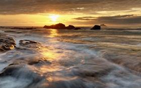 Картинка море, небо, пейзаж, закат, природа