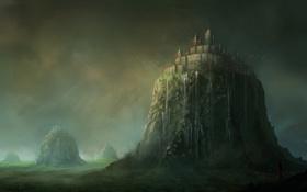 Картинка девушка, горы, птицы, город, замок, скалы, водопад