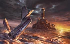 Обои море, закат, самолет, маяк, бутылка, крушение, круг