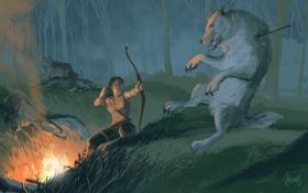 Картинка лес, девушка, лук, арт, волки, стрела, Tomb Raider