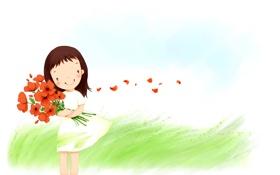 Картинка трава, цветы, улыбка, ветер, букет, лепестки, платье