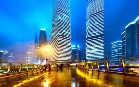 Картинка China, Китай, Гонконг ночью, легкие трассы в Шанхае, Hong Kong at night, light trails in ...