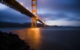 Картинка море, ночь, мост, город, огни, вечер, сан-франциско