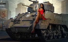 Обои девушка, улица, рисунок, дома, платье, арт, танк
