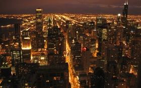 Обои ночь, огни, небоскребы, Чикаго, улицы, панорамма