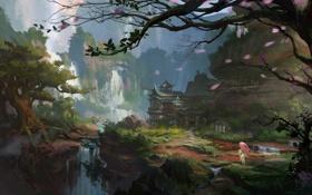 Обои девушка, деревья, пейзаж, скалы, азия, зонт, лепестки