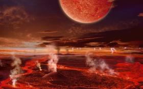 Картинка становление, вулканы, извержение, Луна, молнии, Земля