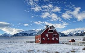 Картинка зима, поле, пейзаж, горы, дом
