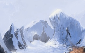 Обои дорога, снег, горы, скалы, вершины, сосульки, арт
