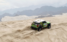 Обои Песок, Спорт, Зеленый, Машина, Mini Cooper, Rally, Dakar