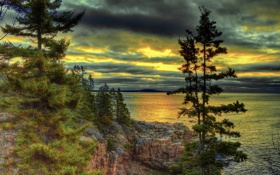 Картинка облака, скалы, небо, озеро, деревья, горы, hdr