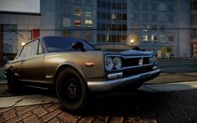 Обои город, фары, классика, Need for Speed The Run, nissan skyline GT-R