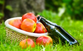 Картинка корзина, яблоки, вино, трава, пикник, бутылка, салфетка