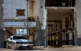 Обои тюнинг, Машина, Серый, Здание, Dodge, SRT8, Challenger