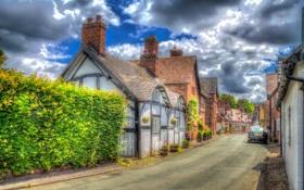 Обои Little Budworth, дома, кусты, Англия, обработка, облака, улица