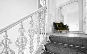 Обои фон, лестница, диван