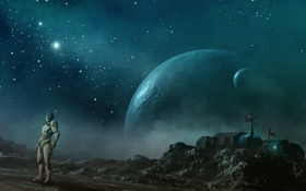 Обои космос, человек, планета, станция, скафандр