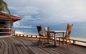 Картинка море, пляж, небо, природа, стулья, стул