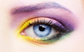Обои взгляд, глаз, ресницы, тени