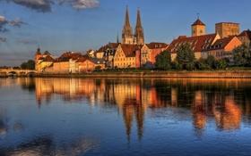 Обои отражение, Регенсбург, вода, Германия