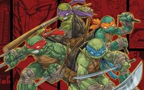 Обои оружие, меч, трезубец, братья, Рафаэль, Raphael, Leonardo