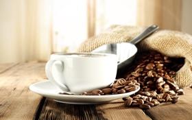 Обои кофе, мешок, кофейные зерна, лопатка