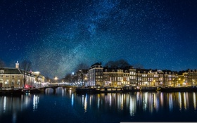 Обои космос, звезды, мост, огни, отражение, люди, дома