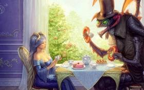 Картинка стол, жук, окно, Алиса, чаепитие, Alice, Mad Hatter
