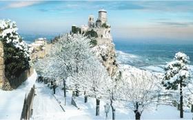 Картинка San Marino, фото, замок, город, деревья, зима, Италия