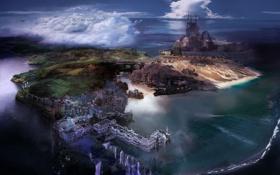 Обои море, вода, пейзаж, мост, город, замок, планета