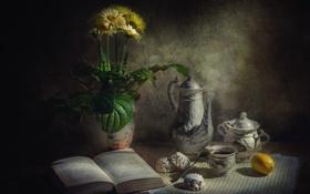Картинка цветы, лимон, Стол, чашка, книга, ваза, кувшин