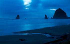 Обои камни, скалы, небо, океан, сумерки, вода, море