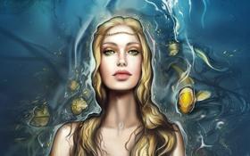 Картинка девушка, рыбы, русалка, ундина, Liliana Moga