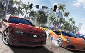 Обои машины, гонка, Lamborghini, арт, Porche, Chevrolet Camaro, Ubisoft Reflections