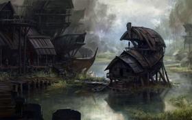 Картинка мост, река, люди, дома, арт