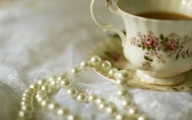 Обои чашка, cup, drink, tea, чая, pearls