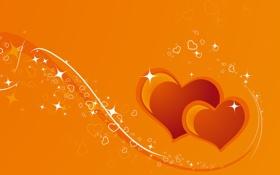 Обои желтый, блеск, сердца, два