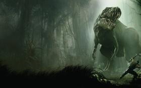 Обои игра, человек, динозавр, лук, арт, стрелы, Turok