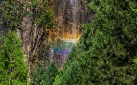 Картинка лес, Yosemite National Park, водопад, природа, радуга, скала