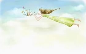 Обои облака, длинноволосая, полёт, девушка, платье, рог, цветы