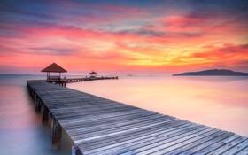 Картинка sea, sunrise, pier, wooded bridge