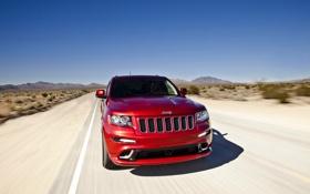 Обои Небо, Красный, Дорога, Капот, Jeep, Передок, GRANDCHEROKEE