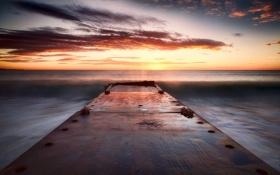 Обои закат, пейзаж, мост, море
