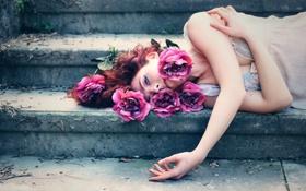 Картинка девушка, цветы, розы, лестница, ступеньки