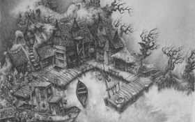 Обои дом, лодка, рисунок, причал, карандаш, мрачно