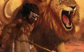 Обои Lion, warrior, helmet, spear